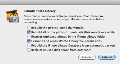 Rebuild iPhoto Library